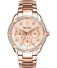 Bulova 98W178 Bayanlar elmas, altın kronograf saati kaplama gül