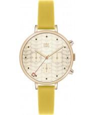 Orla Kiely OK2038 altın kronograf sarı deri kayış seyretmek sarmaşık Bayanlar