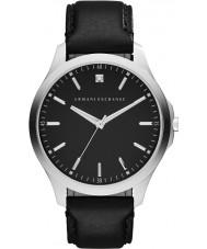Armani Exchange AX2182 Mens elbise siyah deri kayışı izle