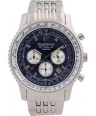 Krug-Baumen 600304DS Erkek hava gezgin elmas gümüş kronograf izle